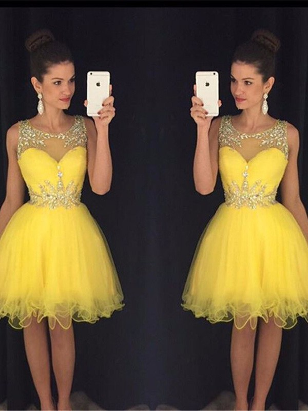 Smart A-Line/Princess Scoop Sleeveless Tulle Short/Mini Dresses With Beading