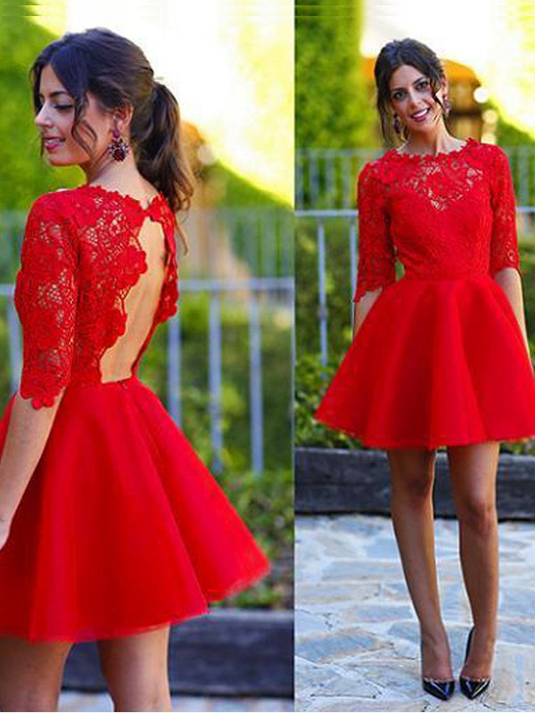 Gorgeous A-Line/Princess Scoop 1/2 Sleeves Lace Short/Mini Dresses