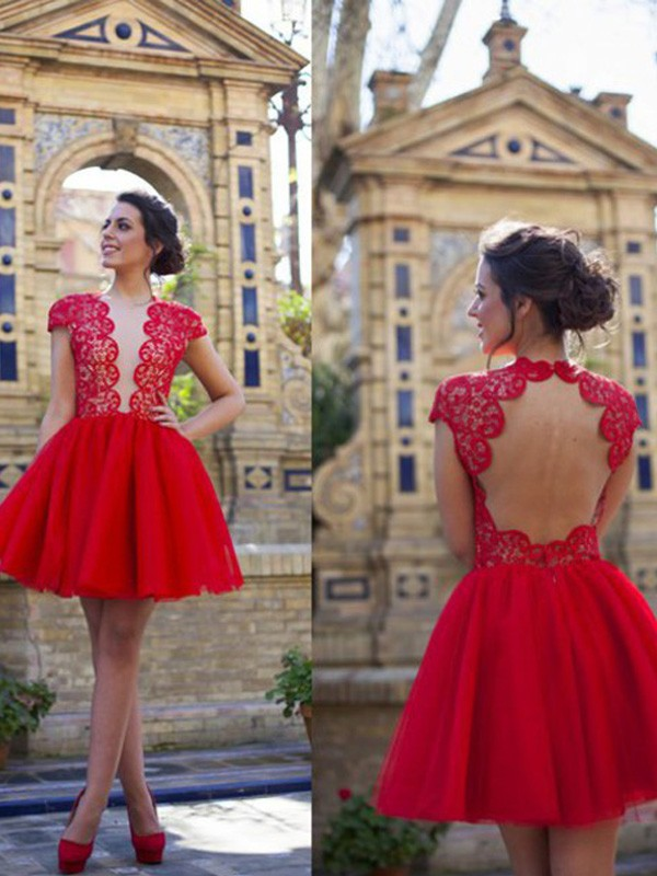Adorable A-Line/Princess Short Sleeves Scoop Lace Short/Mini Tulle Dresses