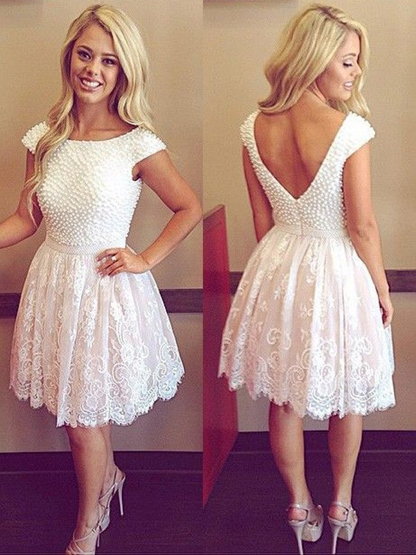 A-Line/Princess Scoop Short Sleeves Lace Short/Mini Dresses With Pearls