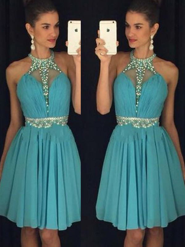 A-Line/Princess Sleeveless Halter Short/Mini Chiffon Dresses With Beading