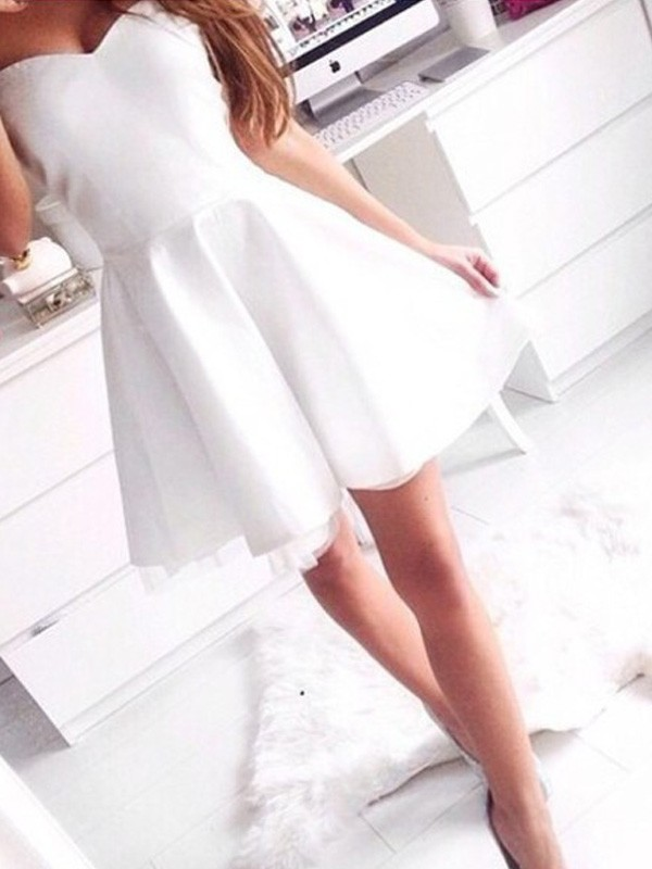 Modern A-Line/Princess Sleeveless Sweetheart Short/Mini Satin Dresses