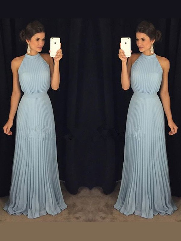 A-Line/Princess Sleeveless High Neck Floor-Length Chiffon Pleats Dresses