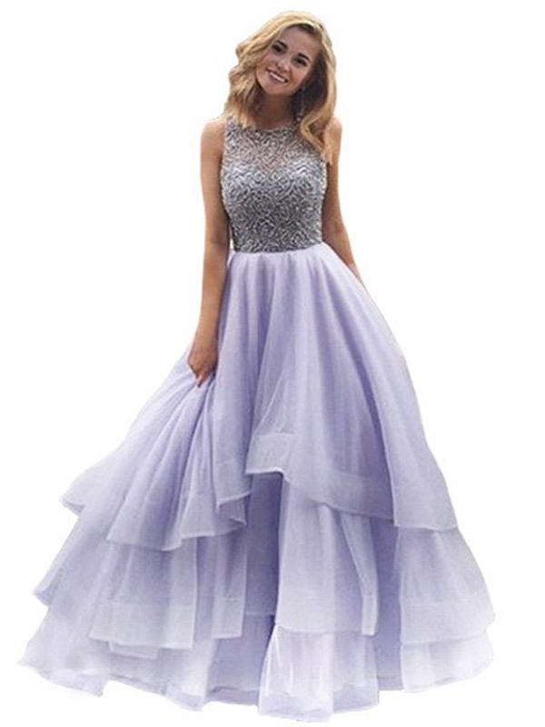 Ball Gown Scoop Sleeveless Floor-Length With Beading Organza Dresses