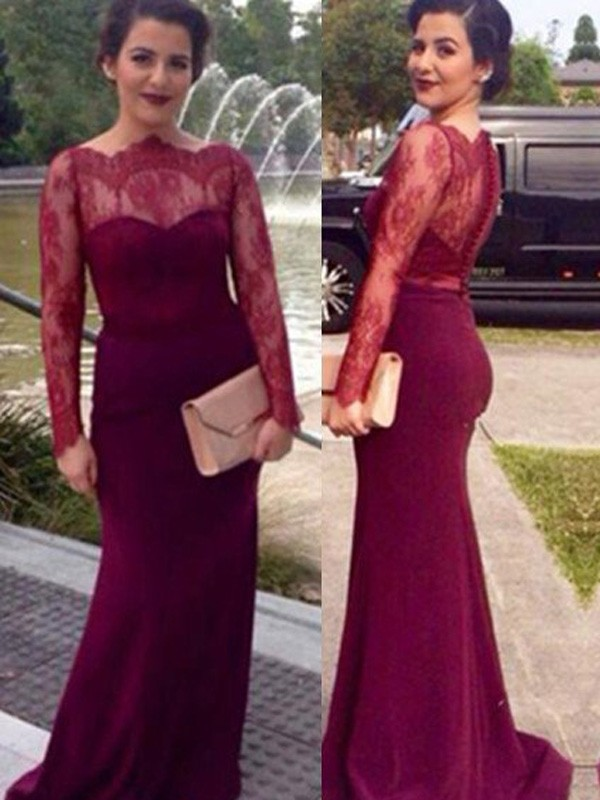 Special Sheath/Column Scoop Long Sleeves Lace Floor-Length Chiffon Dresses
