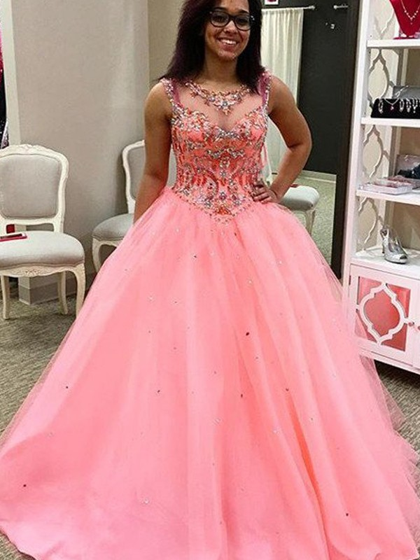 Floor-Length Ball Gown Sweetheart Sleeveless Tulle Dresses With Beading