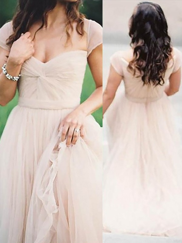Floor-Length A-Line/Princess Sweetheart Sleeveless With Ruched Chiffon Dresses