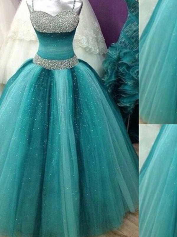 Floor-Length Ball Gown Spaghetti Straps Sleeveless Tulle Dresses With Beading