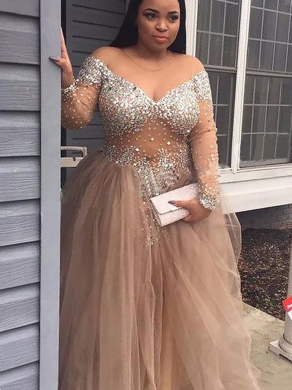 Floor-Length Ball Gown Off-the-Shoulder Sleeveless Sequin Tulle Dresses