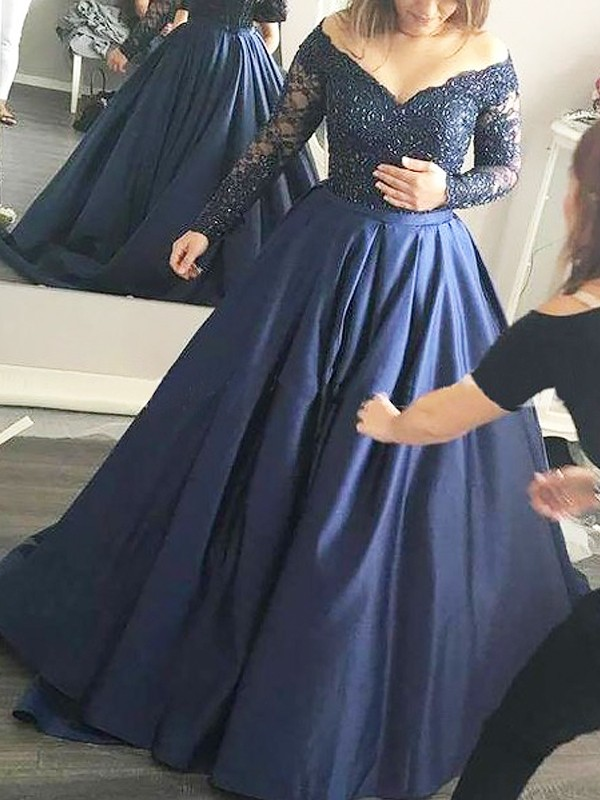 Sweep/Brush Train Ball Gown Off-the-Shoulder Long Sleeves With Beading Satin Dresses