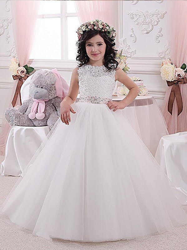 Floor-Length Ball Gown Scoop Sleeveless Sash/Ribbon/Belt Tulle Flower Girl Dresses