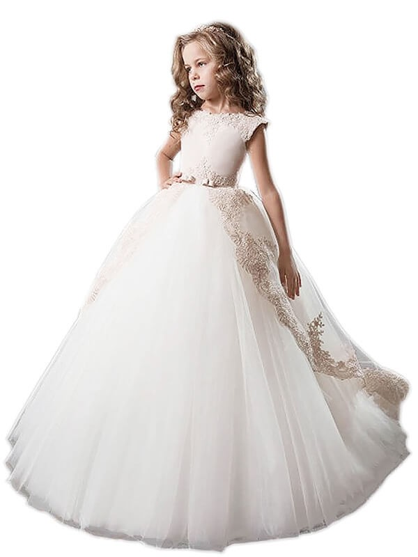 Floor-Length Ball Gown Scoop Tulle With Applique Sleeveless Flower Girl Dresses