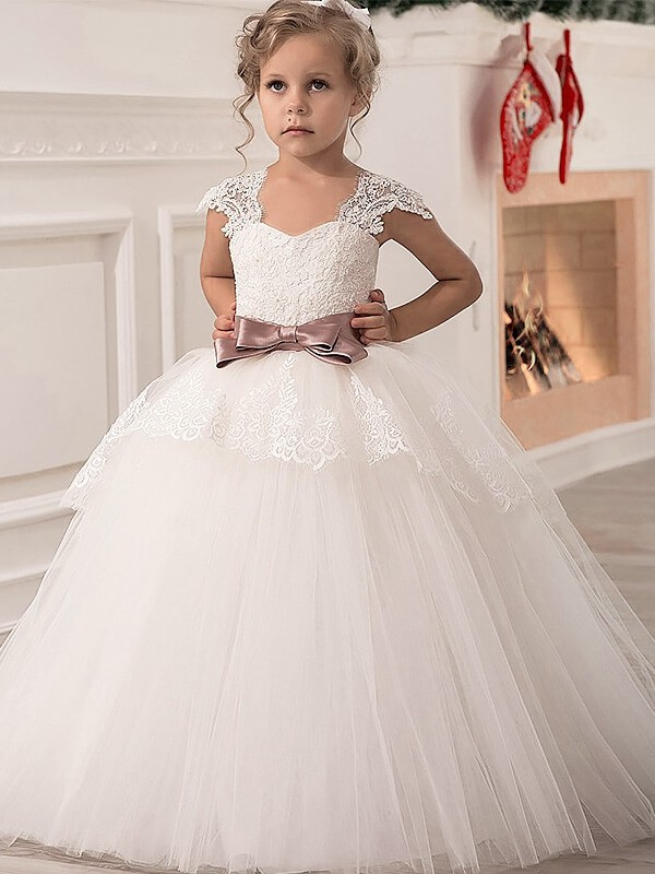 Ball Gown Straps Floor-Length Sleeveless Sash/Ribbon/Belt Tulle Flower Girl Dresses