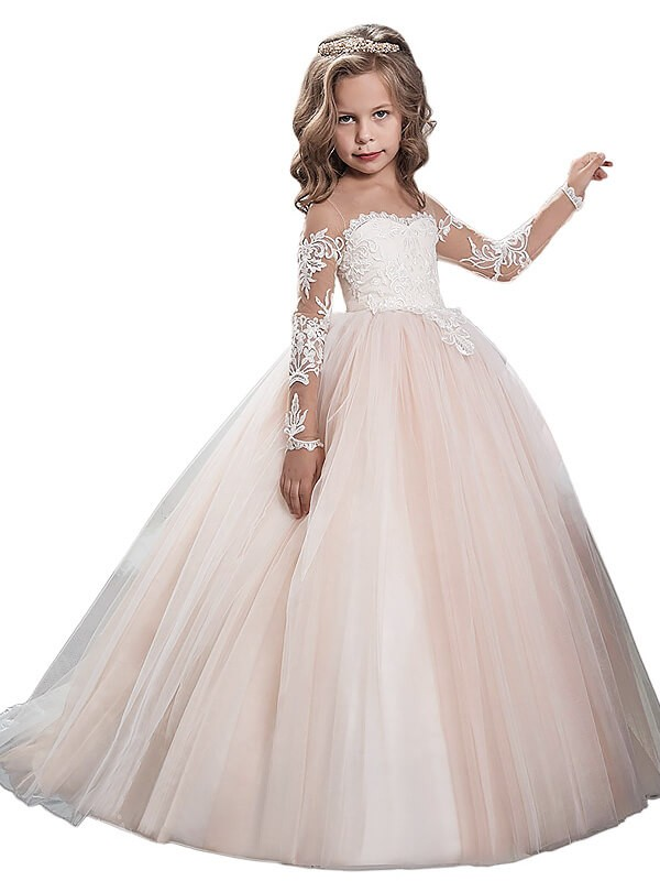 Ball Gown Scoop Sweep/Brush Train Long Sleeves Tulle Flower Girl Dresses