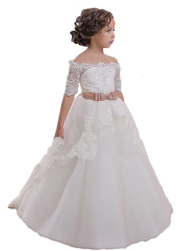 Ball Gown Off-the-Shoulder Sweep/Brush Train Short Sleeves Sash/Ribbon/Belt Tulle Flower Girl Dresses