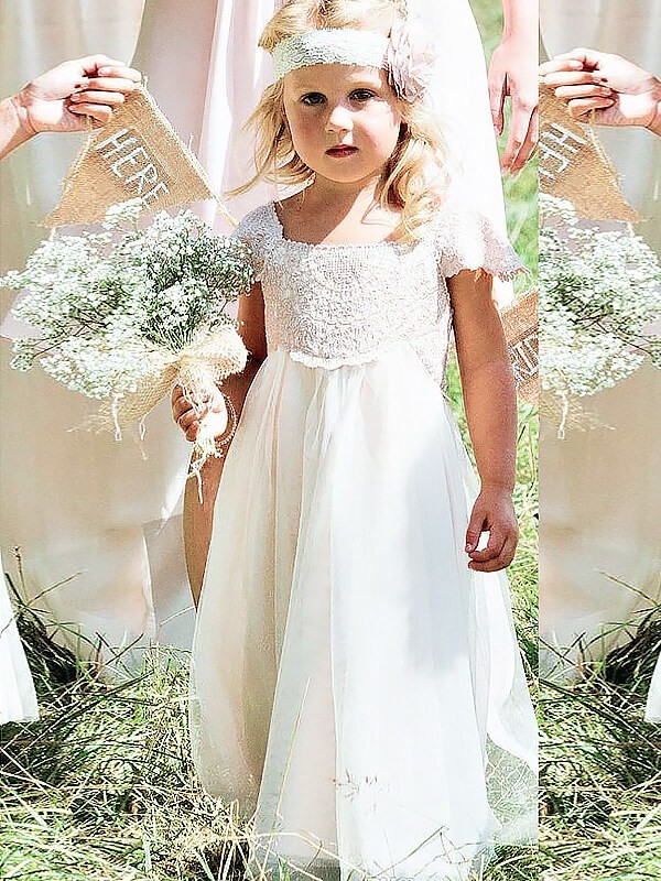 Floor-Length A-line/Princess Square Short Sleeves Lace Chiffon Flower Girl Dresses