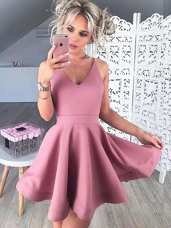 Perfect A-Line/Princess V-neck Satin Sleeveless Short/Mini Dresses
