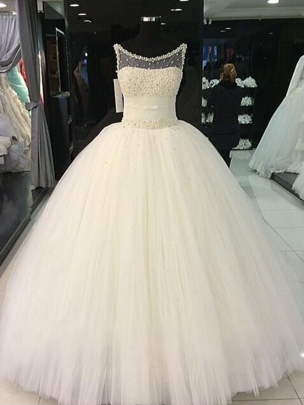 Trendy Ball Gown Sleeveless Scoop Tulle Floor-Length Wedding Dresses