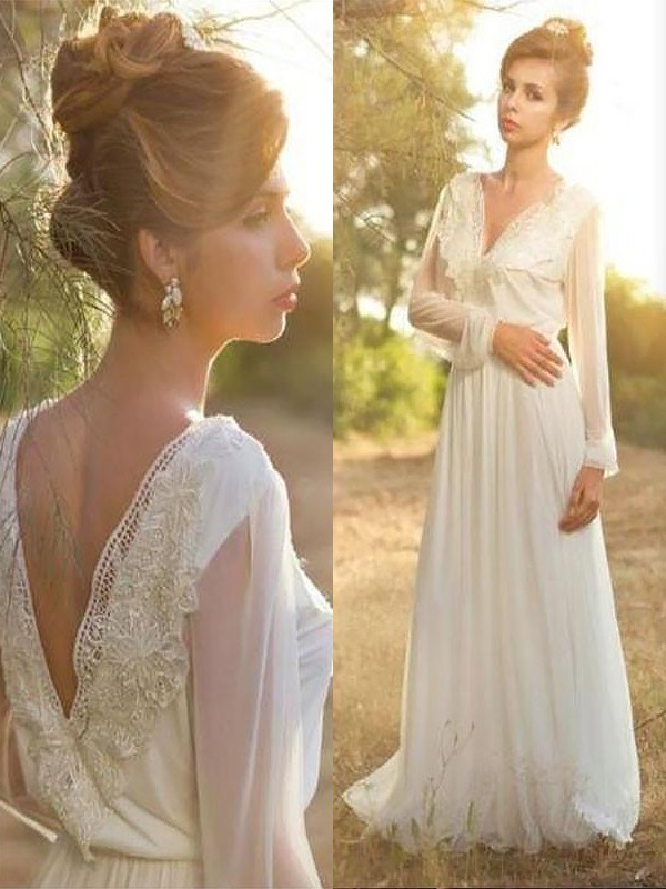 A-Line/Princess Long Sleeves V-neck Sweep/Brush Train Chiffon Wedding Dresses