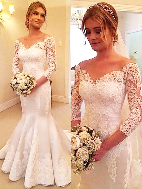Trumpet/Mermaid 3/4 Sleeves Off-the-Shoulder Satin Long Wedding Dresses
