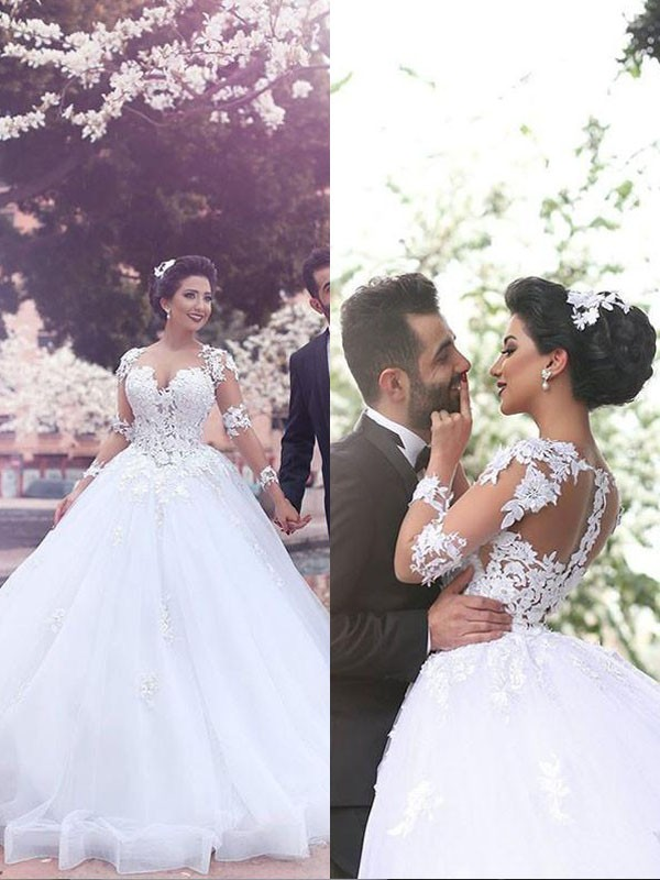 Ball Gown Long Sleeves Sweetheart Court Train Tulle Wedding Dresses