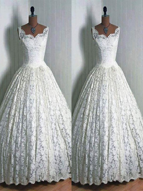Stylish Ball Gown Sleeveless Sweetheart Floor-Length Lace Wedding Dresses