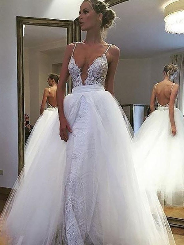 A-Line/Princess Sleeveless Spaghetti Straps Floor-Length Tulle Wedding Dresses