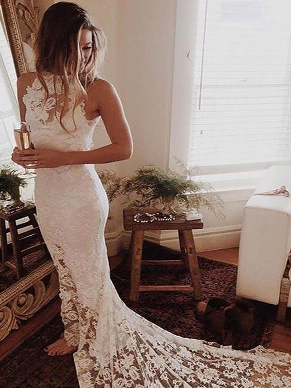 Dreamlike Trumpet/Mermaid Sleeveless Halter Chapel Train Lace Wedding Dresses
