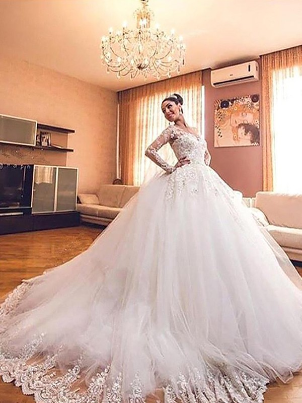 Perfect Ball Gown Long Sleeves V-neck Court Train Tulle Wedding Dresses