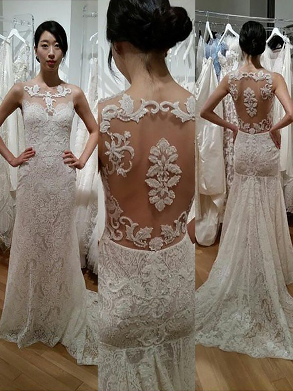 Stunning Trumpet/Mermaid Sleeveless Scoop Sweep/Brush Train Lace Wedding Dresses
