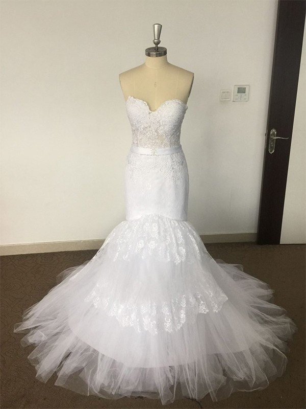 Attractive Trumpet/Mermaid Sleeveless Sweetheart Tulle Long Wedding Dresses