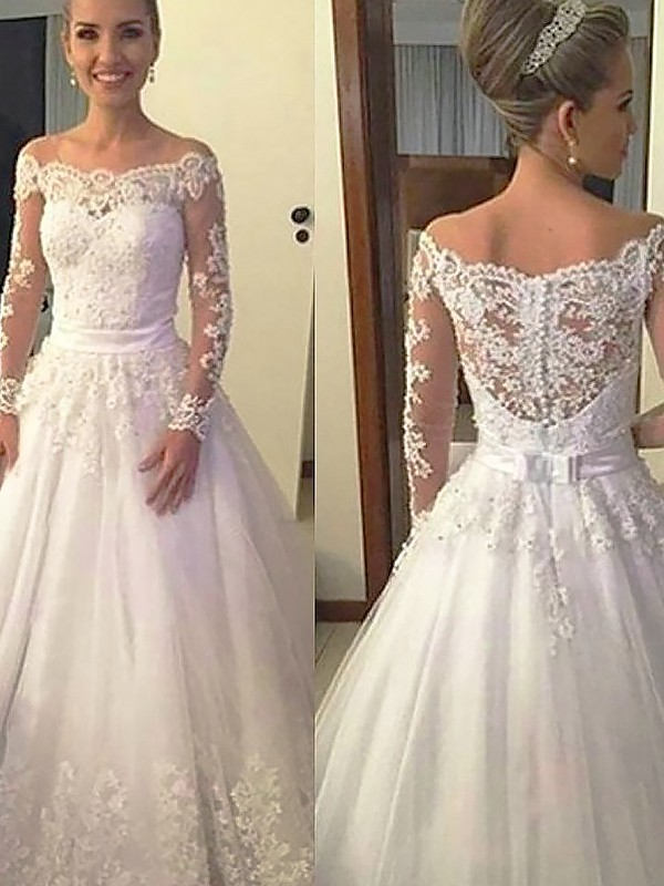 Ball Gown Long Sleeves Off-the-Shoulder Court Train Tulle Wedding Dresses