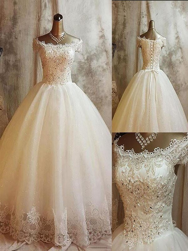 Attractive Ball Gown Sleeveless Off-the-Shoulder Tulle Long Wedding Dresses