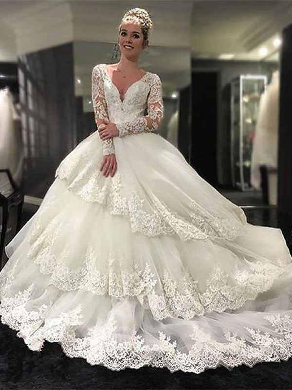 Romantic Ball Gown Long Sleeves V-neck Tulle Court Train Wedding Dresses