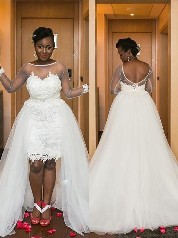 A-Line/Princess Long Sleeves Scoop Court Train Tulle Wedding Dresses