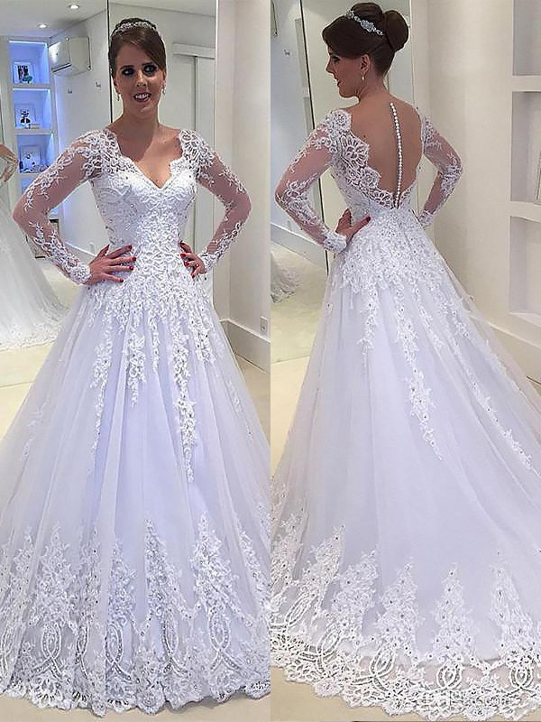 A-Line/Princess Long Sleeves V-neck Court Train Tulle Wedding Dresses