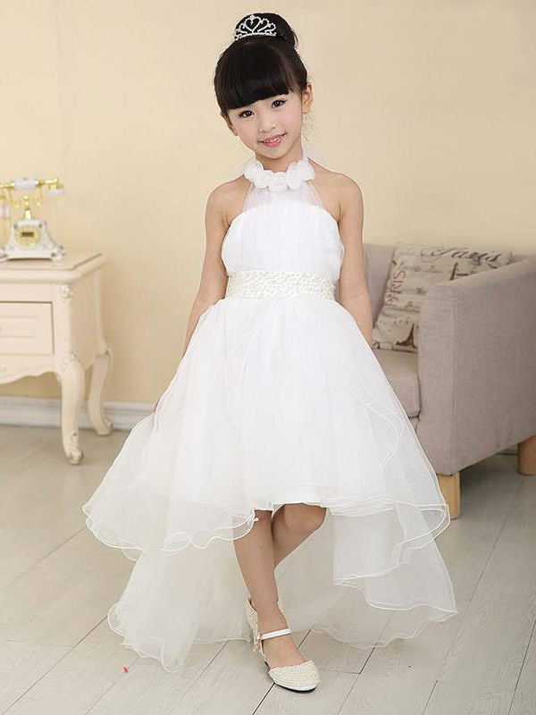 A-Line/Princess High Neck Sleeveless Sweep/Brush Train With Beading Organza Flower Girl Dresses