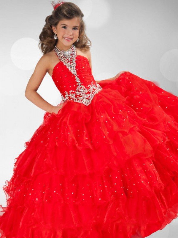 Ball Gown Halter Organza Sequin Rhinestone Sleeveless Long Flower Girl Dresses