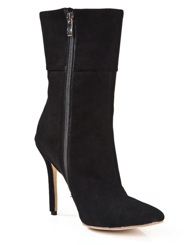 Women's Suede Stiletto Heel Closed Toe With Zipper Mid-Calf Black Boots