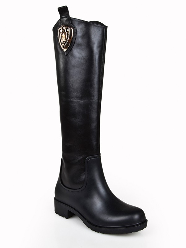 Women's Kitten Heel Closed Toe Cattlehide Leather With Rhinestone Knee High Black Boots