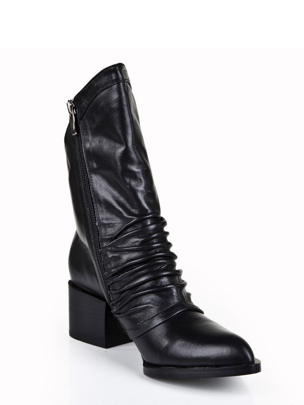 Women's Cattlehide Leather Kitten Heel Closed Toe With Zipper Mid-Calf Black Boots