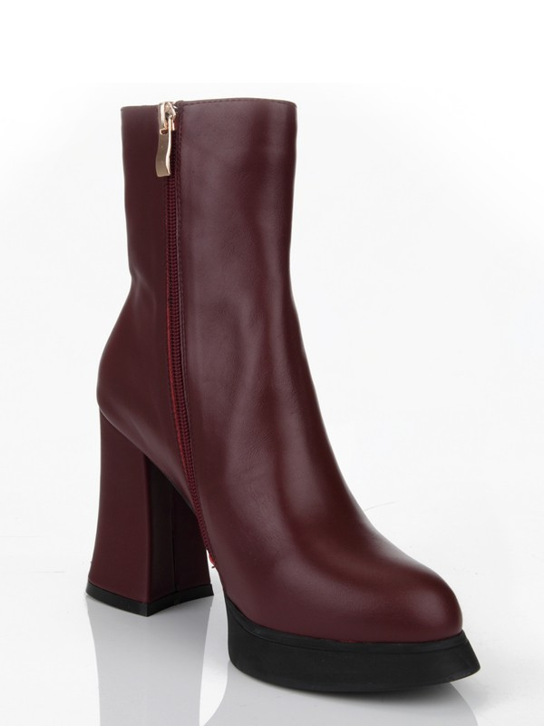 Women's Cattlehide Leather Chunky Heel Closed Toe With Zipper Mid-Calf Burgundy Boots