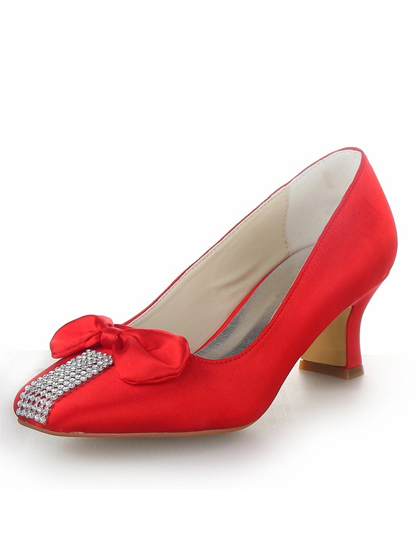 Women's Satin Chunky Heel Closed Toe With Bowknot Party & High Heels
