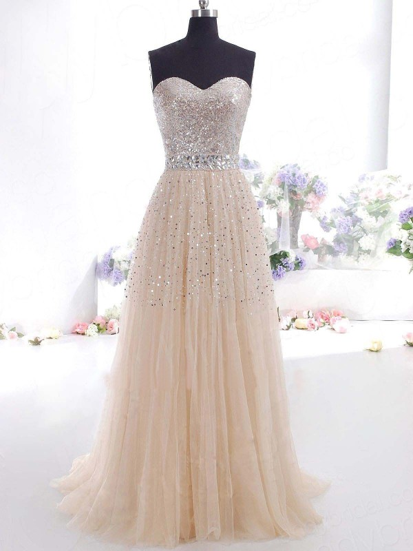 Amazing A-Line/Princess Sweetheart Sleeveless Sweep/Brush Train Tulle Dresses
