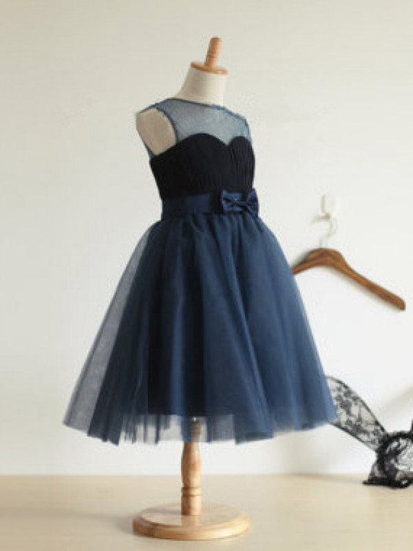 Ball Gown Jewel Tea-Length Sleeveless Bowknot Tulle Dresses