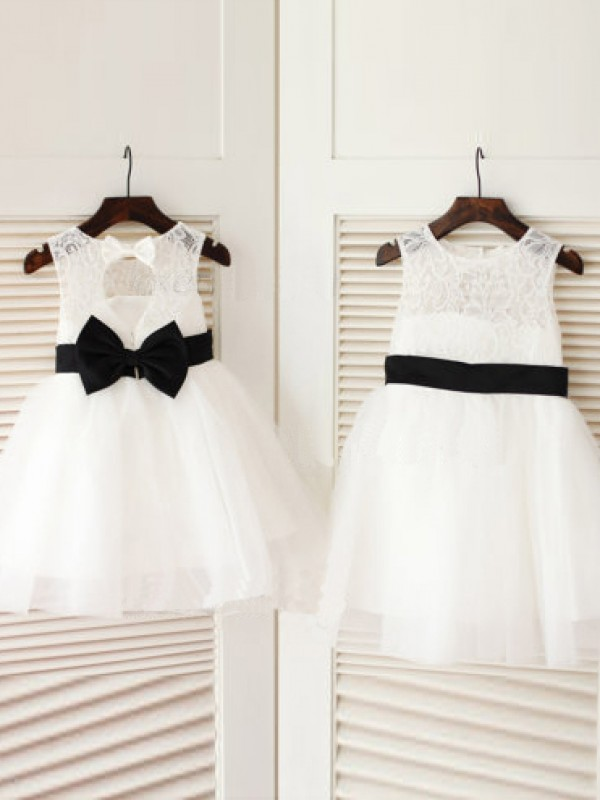 A-Line/Princess Scoop Sleeveless Knee-Length Bowknot Tulle Dresses