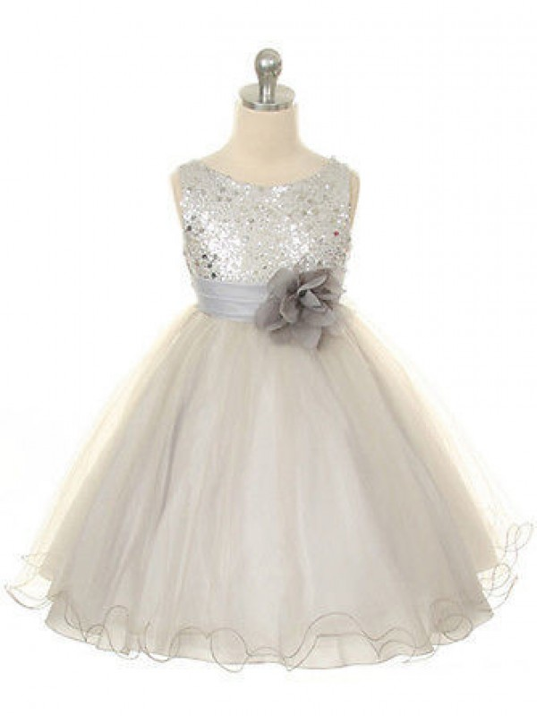 Ball Gown Jewel Sleeveless Hand-Made Flower Tea-Length Organza Dresses